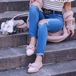 Blush pink velvet justfab loafers